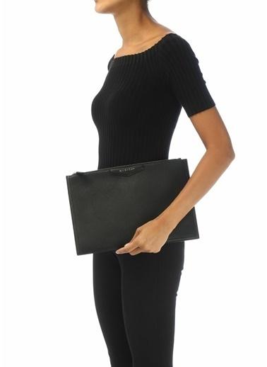 Givenchy Givenchy 101539492 Deri Fermuar Kapatmalı Logolu Kadın El Çantası Siyah